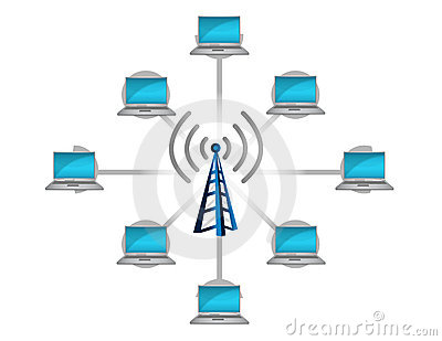 Wireless network connection concept illustration
