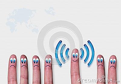 Wireless network wifi fingers metaphor