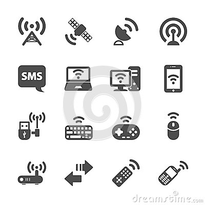 Free Wireless Technology Communication Icon Set, Vector Eps10 Royalty Free Stock Images - 45724159