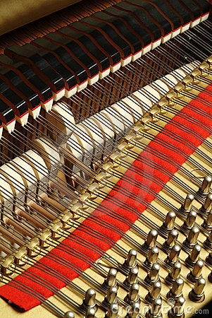 The wires of a piano