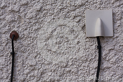 Wiring cable on the wall