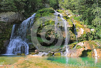 Wirje vattenfall, Julian Alps, Slovenien