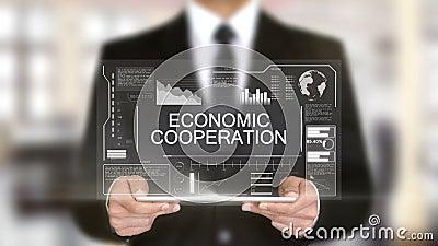 Wirtschaftliche Zusammenarbeit, Hologramm-futuristische Schnittstelle, vergrößerte virtuelle Realität stock abbildung