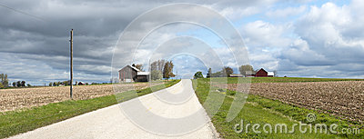 Wisconsin Dairy Farm Country Road Panoramic Banner Stock Image - Image: 24740771