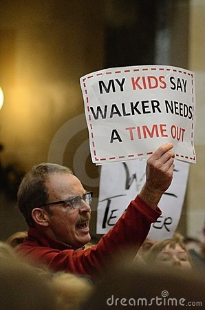 Wisconsin Protester Editorial Stock Photo