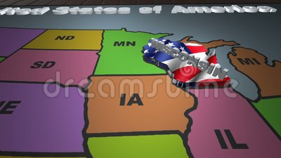 Wisconsin pull out from USA states abbreviations map stock footage