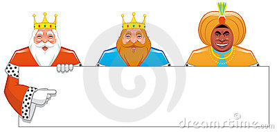 Wise men with blank sign