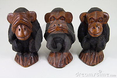 Wise monkeys that see no evil, speak no evil and hear no evil