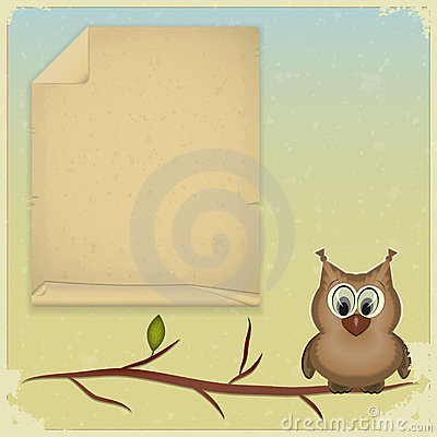 Wise owl and old paper