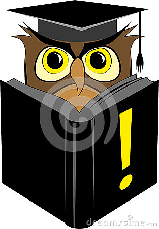 Wise owl reading book