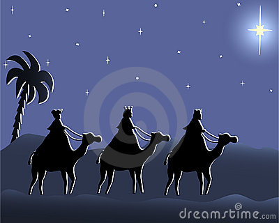 Wisemen che va a bethlehem nella notte