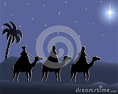 Wisemen que va a bethlehem en la noche