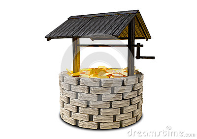 Wishing Well With Gold Coins