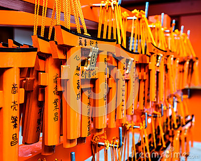Wishing wood tags hanging in at Fushimi Inari shrine