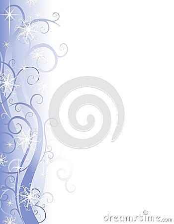 Wispy blauer Schneeflocke-Weihnachtsrand