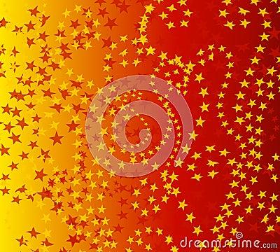 Wispy Red Gold Stars Pattern