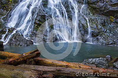 Wispy Rocky Brook waterfall in Olympic National Forest