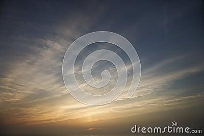 Wispy sky and clouds