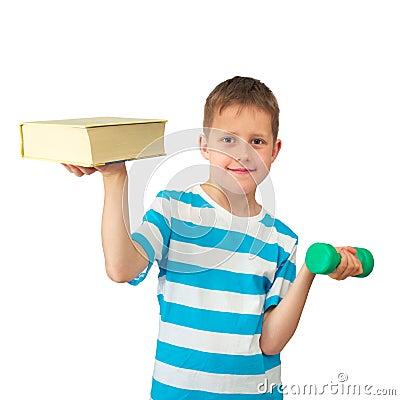 Wissen ist Leistung - Junge mit Buch und Gewicht