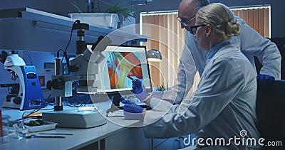 Wissenschaftler, die Bakterien in einem Labor ?berpr?fen stock video