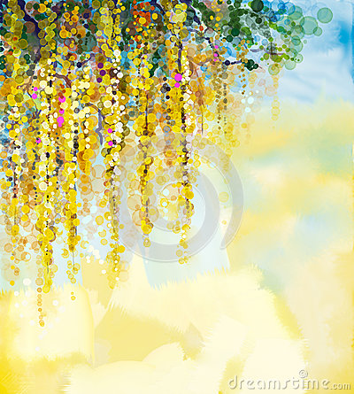 Free Wisteria Flowers Watercolor Painting Royalty Free Stock Image - 56967706