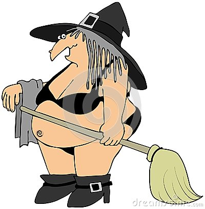 Witch in a black bikini