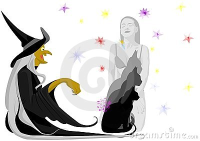 Witch with black cat