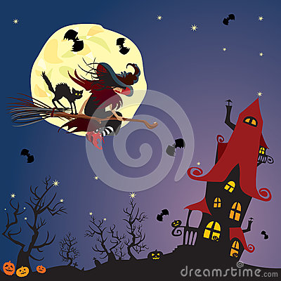 Witch and black cat flying on broom