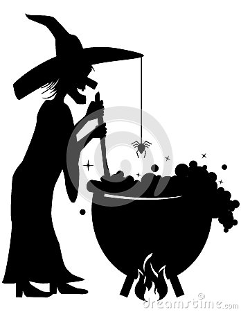 Witch Brewing a Potion in a Cauldron