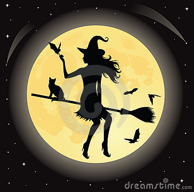 Witch on a broom.