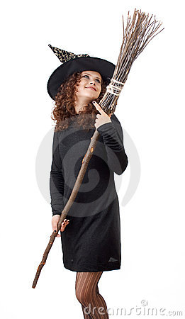Witch and a broom.