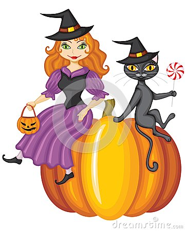Witch and a cat sitting on a pumpkin