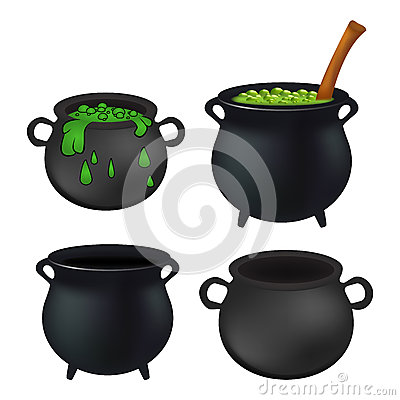 Free Witch Cauldron Empty And With Green Potion, Bubbling Witches Brew Set. Realistic Vector Illustration Isolated On White Background. Stock Image - 61039841