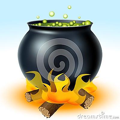 Witch cauldron on fire