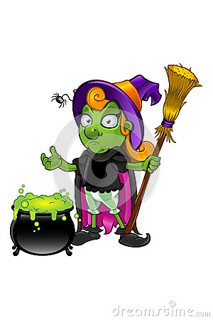 Witch Character - looking unsure with cauldron
