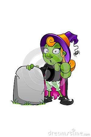 Witch Character - pointing forward with gravestone