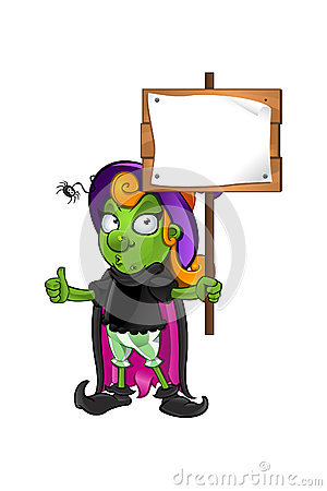 Witch Character - thumbs up holding wooden sign