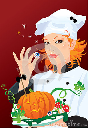 Witch - chef cooking for Halloween party