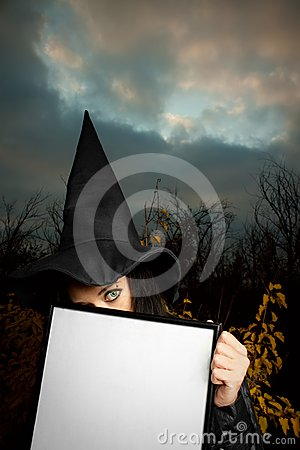 Witch with empty banner