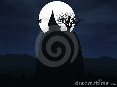 Witch flying to her house on a hill during night.