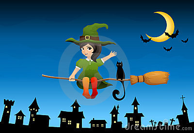 Witch girl flying on a broom