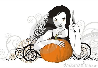 Witch is going to carve jack-o-lantern