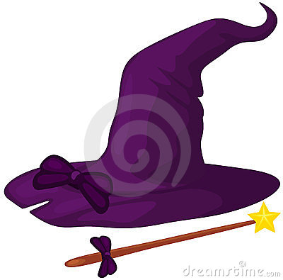 Witch hat with cane