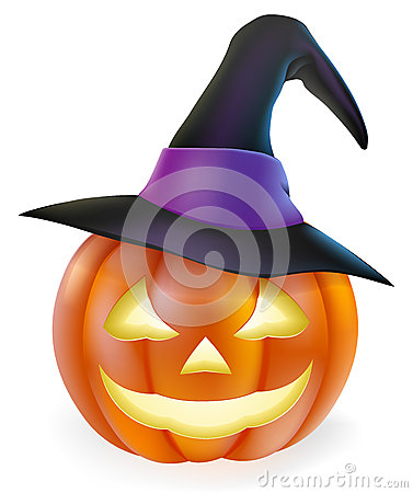Free Witch Hat Halloween Pumpkin Stock Images - 34206844