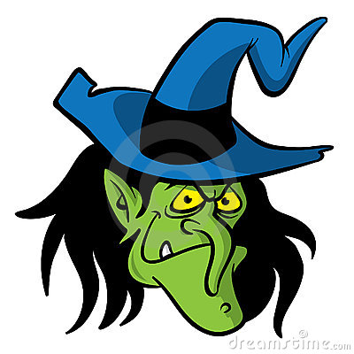 Witch head cartoon illustration