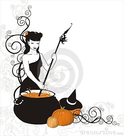 Free Witch Is Cooking Pumpkin Potion Stock Image - 1326591