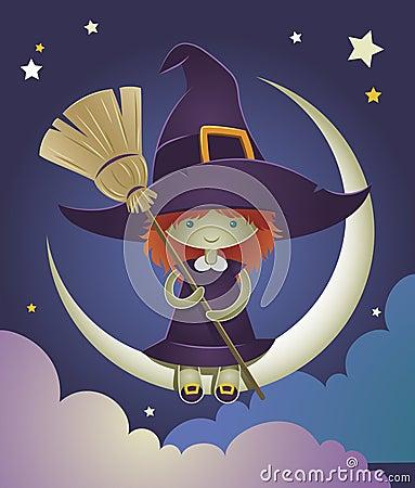 Witch kid illustration