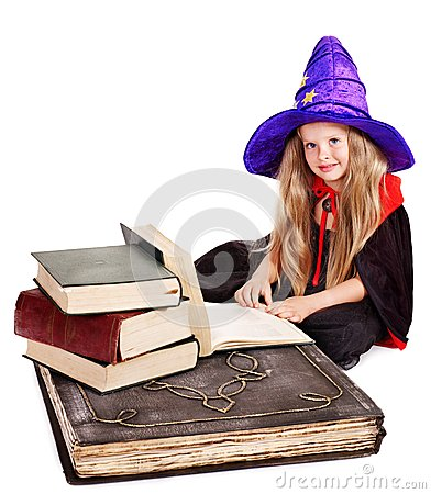 Witch  little girl with stack book. .