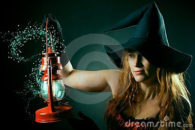 Witch with the magic lantern