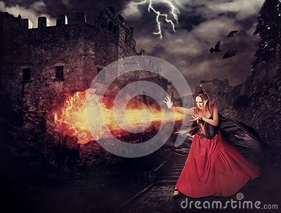 witch in medieval castle cast magic fireball stock photo fireball clip art for kids coloring fireball clip art gif
